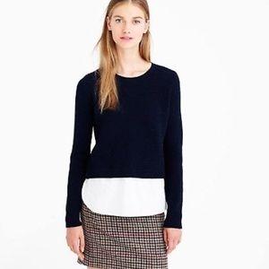 J Crew Lambswool Shirttail Sweater Navy